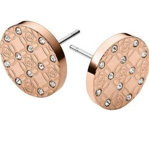 NWT Michael Kors Rose Gold Toned &Crystal Earrings
